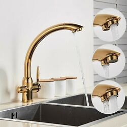 Rozin Gold Kitchen Drinking Taps 3 Way Water Filter Tap And Mixer Tap 360anddeg Sw...