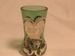 Rare Antique Emerald Green Heavy Sterling Overlay Overlaid Toothpick Holder