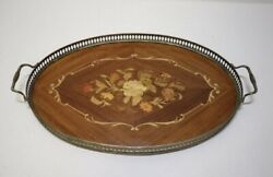 A Beautiful Inlaid Wood Serving Tray 20.75 Across