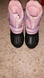 Toddler Girls TOTES Waterproof Pink amp; Black Winter Snow BOOTS Size 5 6 $12.99