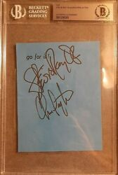 Stevie Ray Vaughan And Chris Layton Double Trouble Signed Cut Bas Beckett Jsa