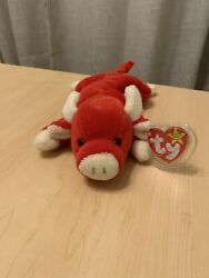 Ty Beanie Baby - Snort The Red Bull With Pvc Pellets - Mint With Tags - Retired