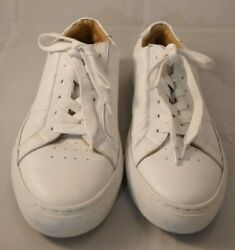 Greats The Royale Blanco Wonen White Leather Lace-up Sneakers Made In Italy Us 9