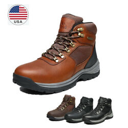 US Men#x27;s Mid Ankle Waterproof Work Boot Leather Outdoor Breathable Hiking Boots $46.99