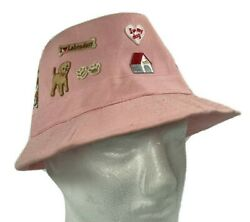Girls Pink Bucket Hat Decorated W Dog amp; Cat Patches $19.97