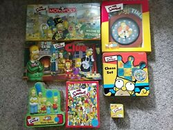 Simpsons Lot Monopoly And Clue, Trivia 1 And 2, Chess, Duff Wall Clock, Watch