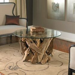 Rustic Driftwood Cocktail Coffee Table Chunky Natural Wood Base Round Glass Top
