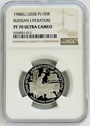 1988 L Platinum Ussr 150 Roubles Russian Literature Proof Coin Ngc Pf 70 Uc
