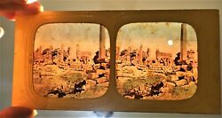 Surprise Tinted Tissue Stereoview Photo Stereo Temple Obelisk Thebes Egypt 1870