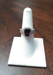 Gia. 4.71ct. Beautiful Purple Spinel And Diamond Ring 14k White Gold