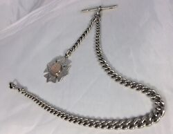 Beautiful Hm Silver Andlsquoantiqueandrsquo Albert Pocket Chain Silver/gold Star Medal Fob.