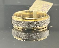 18k Ring Solid Gold Ladies Jewelry Simple Two Tone Band Rough Design R2352