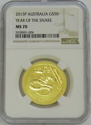 2013 P Gold 50 Australia 1/2 Oz Lunar Year Of The Snakecoin Ngc Mint State 70