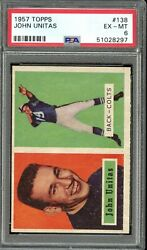 1957 Topps 138 Johnny Unitas Rookie Card  Psa Ex-mt 6 Great Color