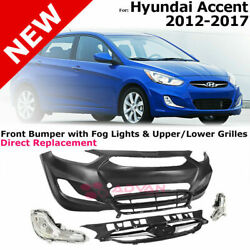 For 12-17 Hyundai Accent | Front Bumper Cover Fog Light Upper Lower Grille