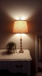 Vintage Baldwin Forced In America Brass Candlestick Table Lamp 24 1/2 W/ Shade