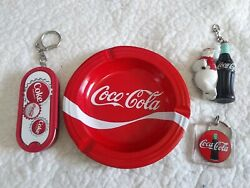 Original Coca Cola Metal Round Ashtray 5.2andrdquo Advertising With 3 Keychains