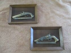 Vintage 1970and039s United China And Glass Company Japan Wall Hangings Antique Pistols