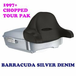 Barracuda Silver Denim Chopped Tour Pak Pack Trunk Latch For Harley 97+ Touring