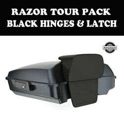Black Tempest Razor Tour Pack Black Hinges Latch For 97-20 Harley Street Touring