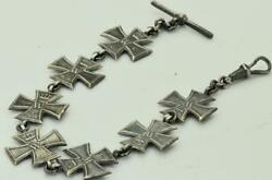 Wwi German Military Iron Cross Order Shaped Sterling Silver Pocket Watch Chain