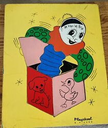 Vintage Childrens Painted Wooden Jack In The Box Playskool Puzzle 9pc Dog Duck
