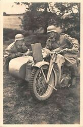 Germany, 2 Soldiers With Their Motorcycle And Sidecar, Real Photo Pc Used 1940's