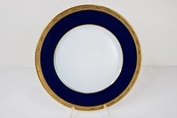 Raynaud Limoges Conde Dinner Plate Gold Encrusted Cobalt Blue 11 Dia