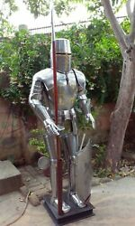 Full Size 6.5 Feet Knights Templar Medieval Gothic Suit Of Armour Shield Spear