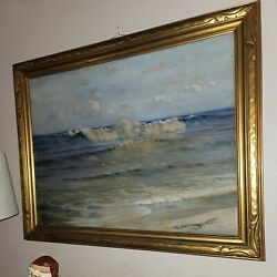 1930s Angel Espoy Original Seascape Painting Oil On Canvas With Original Frame