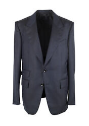 New Tom Ford Shelton Checked Blue Suit Size 52 It / 42r U.s.