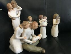 Collection X 5 Willow Tree Orniments New Life,together,frienship,angel Embrace,