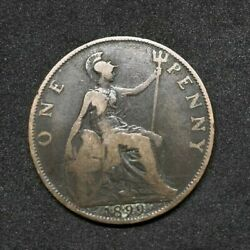 1899 Britain England British English Large Cent Penny Money Queen Victoria 23