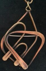 Vintage Signed American Nyc Modernist Art Smith Brooch Pin Pendant Copper Brass