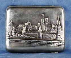 Majestic Antique 1900s Russian City Of Moscow Sterling Silver Cigarette Case Box