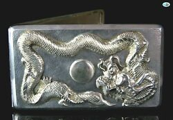 Antique 1900 Chinese/japanese Solid Silver Raised Dragon Cigarette Case