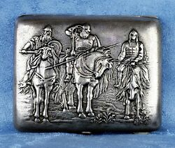 Antique Russian 1900s Silver 875 Cigarette Case With Soldiers On Horsesandnbsp