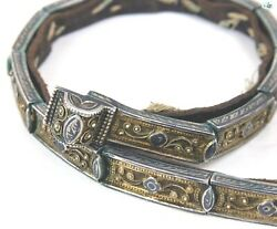 Antique 1900s Russian Niello Silver And Gilt Repoussé Belt And Buckle With Leather