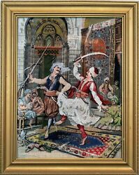 Antique 1900s Ottoman Turkish Tapestry Embroidery Warriors Dancing Sword And Gun