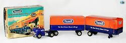 Awesome Original Vintage 1953 Friction Gmc Rexall Truck And Trailers Toy W/ Box