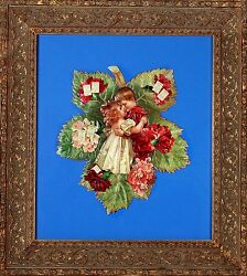 Rare Antique 1800s Leaf Embossed Flower Calendar With Boys And Girls Kissing