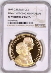 1997 Gold Proof Five Pounds Royal Wedding Andpound5 5 Sovereign Ngc Pf69 Ultra Cameo