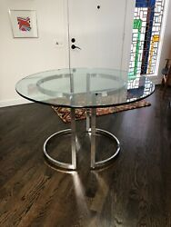 Mid Century Modern Milo Baughman Chrome And Round Glass Dining Table