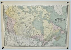 """Antique Map Of British America And Alaska, 14"""" X 20"""", Rand, Mcnally And Co., 1892"""