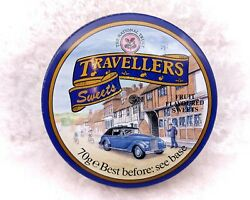 Small Vintage Tin-national Trust Travellers Sweets-classic Car-advertising/blue