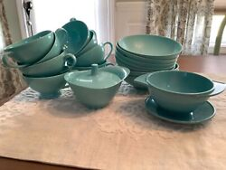 Lot Texas Ware Turquoise Melamine 7 Bowls 3 Cups Covered Bowl Boonton Bowl