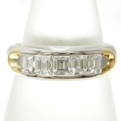 Platinum 900 18k Yellow Gold Ring 12 Size Diamond About7g Free Shipping Used