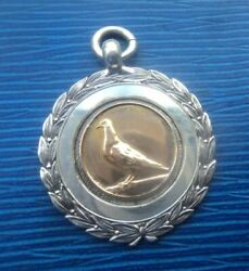 Silver And Gold Pigeon Fob Medal Pendant H/m 1937 Lyme Regis + Certificate Durham