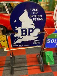Vintage Enamel Sign - Bp Buy Here Enamel Sign With New Stand 4986 Sn 175