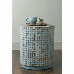 Blue Coconut Shell End Table Mosaic Inlay Tiles Boho Side Accent, Round, Rustic